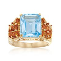 7.25 Carat Blue Topaz and 1.60 ct. t.w. Citrine Ring in 14kt Gold Over Sterl..