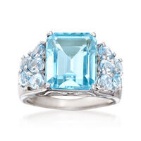 9.05 ct. t.w. Blue Topaz Ring in Sterling Silver. Size 9