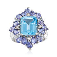 5.45 ct. t.w. Blue Topaz and 2.20 ct. t.w. Tanzanite Ring With Diamond Accen..