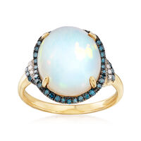 Ethiopian Opal and .29 ct. t.w. Diamond Ring in 14kt Yellow Gold. Size 6
