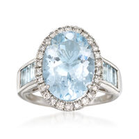 4.80 Carat Aquamarine and .38 ct. t.w. Diamond Ring in 14kt White Gold. Size 9