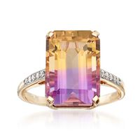 7.40 Carat Ametrine Ring With Diamond Accents in 14kt Yellow Gold. Size 5