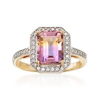 2.00 Carat Ametrine and .23 ct. t.w. Diamond Halo Ring in 14kt Yellow Gold. ..