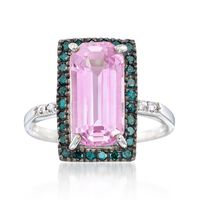 5.25 Carat Kunzite and .42 ct. t.w. Blue Diamond Ring in 14kt White Gold. Si..