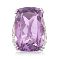 30.00 Carat Amethyst and 1.20 ct. t.w. White Zircon Geometric Ring in Sterli..