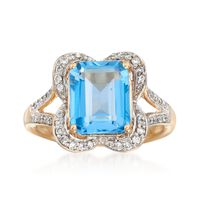 4.00 Carat Blue Topaz and .28 ct. t.w. Diamond Ring in 14kt Yellow Gold. Siz..