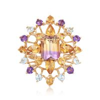 6.50 ct. t.w. Multi-Stone Starburst Ring in 14kt Yellow Gold. Size 10