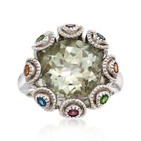 5.50 Carat Green Amethyst and .39 ct. t.w. Multi-Stone Ring in Sterling Silv..