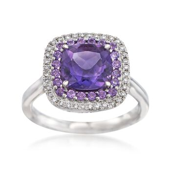 Gregg Ruth 2.20 ct. t.w. Amethyst and .20 ct. t.w. Diamond Ring in 18kt White Gold