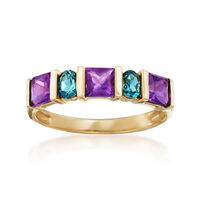 .80 ct. t.w. Amethyst and .30 ct. t.w. London Blue Topaz Ring in 14kt Yellow..