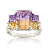4.30 Carat Ametrine and 1.20 ct. t.w. Multi-Stone Ring With Diamond Accents ..