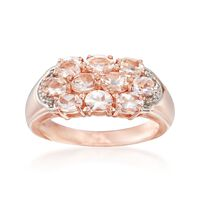 1.50 ct. t.w. Morganite Cluster Ring in 14kt Rose Gold Over Sterling. Size 6