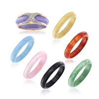 Multicolored Jade Jewelry Set: Seven Interchangeable Bands With 14kt Gold Ri..