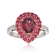 Gregg Ruth 2.40 Carat Total Weight Rhodolite Garnet and .27 Carat Total Weight Diamond Ring in 18-Karat Two-Tone Gold