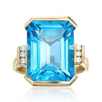 14.00 Carat Blue Topaz Ring With Diamond Accents in 14kt Yellow Gold. Size 5