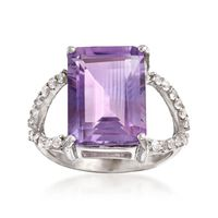 6.75 Carat Emerald-Cut Amethyst and .40 ct. t.w. White Topaz Ring in Sterlin..