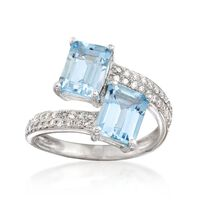 2.70 ct. t.w. Aquamarine and .30 ct. t.w. Diamond Bypass Ring in 14kt White ..
