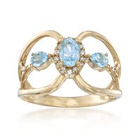 .80 ct. t.w. Blue Topaz and .15 ct. t.w. Diamond Ring in 14kt Yellow Gold. S..