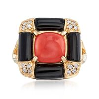 Red Coral and Black Onyx Ring With .14 ct. t.w. Diamonds in 14kt Yellow Gold..
