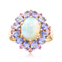 Opal With .30 ct. t.w. Pink Sapphire and 1.70 ct. t.w. Tanzanite Ring in 14k..