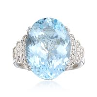 11.00 Carat Aquamarine and .24 ct. t.w. Diamond Ring in 14kt White Gold. Siz..