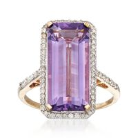 7.00 Carat Amethyst and .45 ct. t.w. Diamond Ring in 14kt Yellow Gold. Size 9