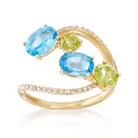 1.90 ct. t.w. Blue Topaz and .80 ct. t.w. Peridot Open Ring With Diamonds in..