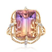 6.00 Carat Ametrine Ring With Diamond Accents in 14kt Yellow Gold. Size 8