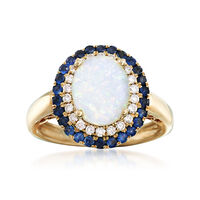 Opal and .50 ct. t.w. Sapphire Ring With .22 ct. t.w. Diamonds in 14kt Yello..