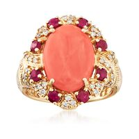 Coral and .70 ct. t.w. Ruby Ring With .23 ct. t.w. Diamonds in 14kt Yellow G..