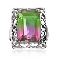 16.00 Carat Watermelon Quartz Triplet Ring in Sterling Silver. Size 10