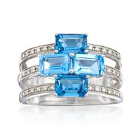 2.50 ct. t.w. Blue Topaz and .10 ct. t.w. Diamond Three-Row Ring in Sterling..