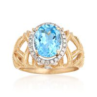 2.90 Carat Blue Topaz and .20 ct. t.w. Diamond Openwork Ring in 14kt Yellow ..