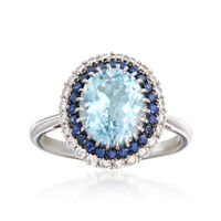 2.40 Carat Aquamarine, .30 ct. t.w. Sapphire and .36 ct. t.w. Diamond Ring in 14kt White Gold. Size 6