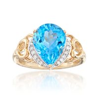 4.90 Carat Swiss Blue Topaz Ring With Diamond Accents in 14kt Yellow Gold. S..