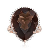 15.00 Carat Smoky Quartz and .31 ct. t.w. Diamond Ring in 14kt Rose Gold. Si..