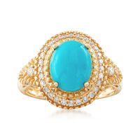 Turquoise and .26 ct. t.w. Diamond Ring in 14kt Yellow Gold. Size 9