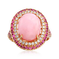 Pink Opal and 1.40 ct. t.w. Pink Sapphire Ring With .29 ct. t.w. Diamonds in..