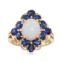 Opal and 2.30 ct. t.w. Sapphire Ring With Diamond Accents in 14kt Yellow Gold. Size 6