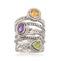 1.80 ct. wt. Multi-Stone Jewelry Set: Five Stackable Rings in Sterling Silve..