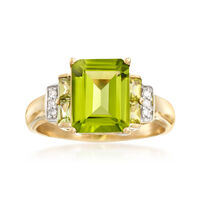 3.80 ct. t.w. Peridot Ring With Diamond Accents in 14kt Yellow Gold . Size 9