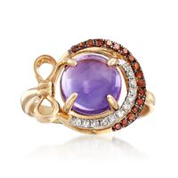 2.40 Carat Amethyst and .22 ct. t.w. Cognac and White Diamond Ring in 14kt Y..