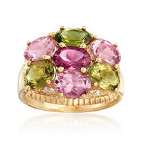 4.90 ct. t.w. Multicolored Tourmaline With Diamond Accents in 14kt Yellow Gold. Size 9