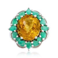 7.00 Carat Citrine and 1.80 ct. t.w. Emerald Ring in Sterling Silver. Size 6