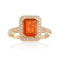 Fire Opal and .21 ct. t.w. Diamond Ring in 14kt Yellow Gold. Size 6