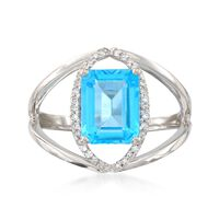 2.80 Carat Blue Topaz and .10 ct. t.w. Diamond Openwork Ring in 14kt White G..