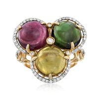 14.00 ct. t.w. Multicolored Tourmaline and .37 ct. t.w. Diamond Ring in 14kt..