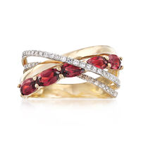 1.30 ct. t.w. Garnet and .20 ct. t.w. Diamond Highway Ring in 14kt Yellow Go..