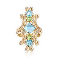 5.90 ct. t.w. Multi-Stone Ring in    18kt Yellow Gold Over Sterling Silver. Size 5
