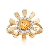.70 Carat Citrine and .10 ct. t.w. White Topaz Sunflower Ring in 14kt Yellow..